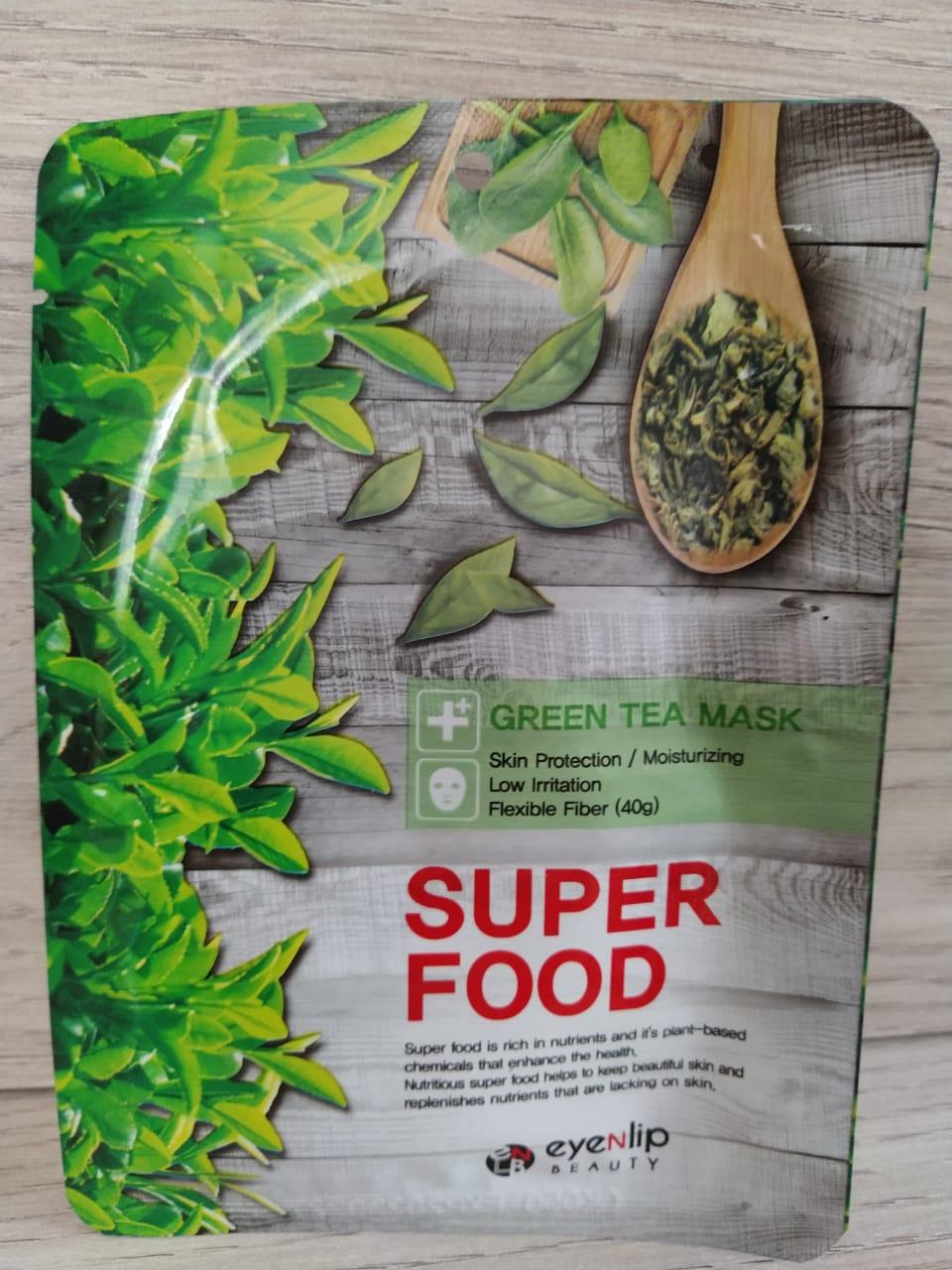 Тканевая маска Super Food с зеленым чаем